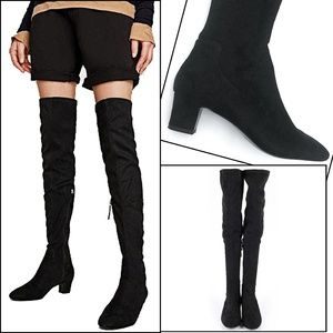 Zara Basic Collection Low-Heel Over The Knee Boots